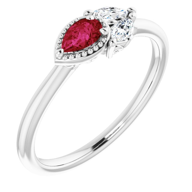 Natural Ruby Ring in 14 Karat White Gold Ruby & 1/8 Carat Diamond Ring