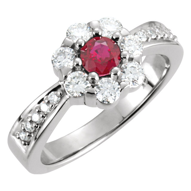 Contemporary 14 Karat White Gold Ruby & 0.75 Carat Total Weight Diamond Cluster Ring