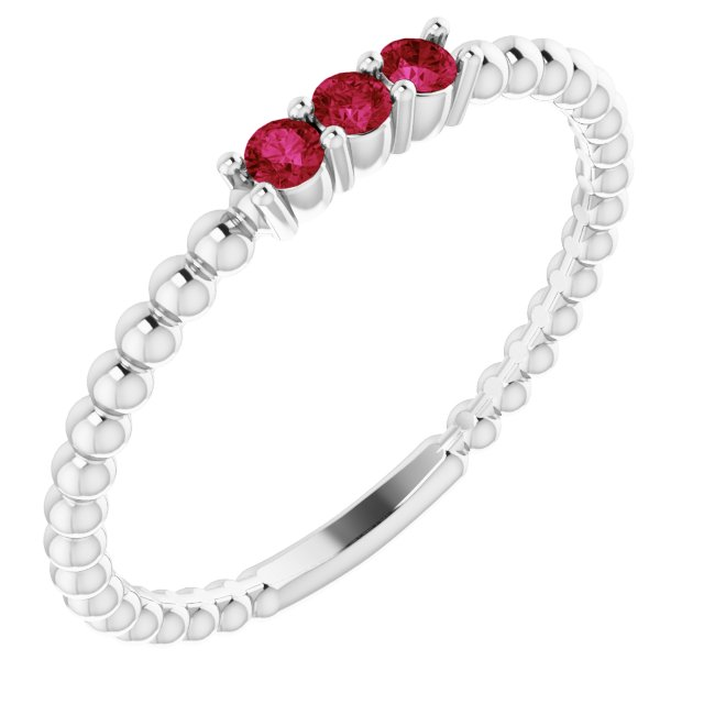 Genuine Ruby Ring in 14 Karat White Gold Ruby Beaded Ring
