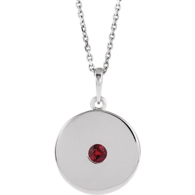 Genuine Ruby Necklace in 14 Karat White Gold Ruby Disc 16-18