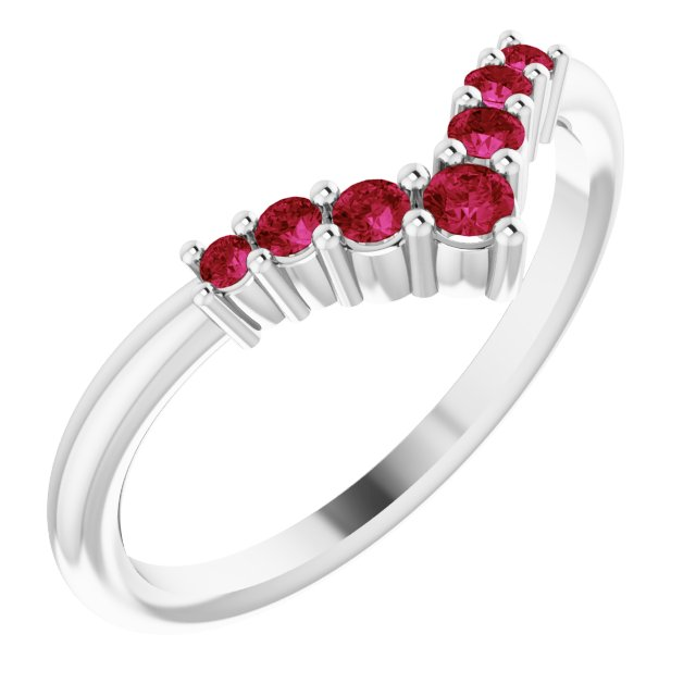 Natural Ruby Ring in 14 Karat White Gold Ruby Graduated