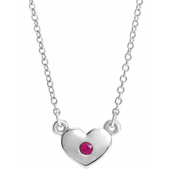Genuine Ruby Necklace in 14 Karat White Gold Ruby Heart 16