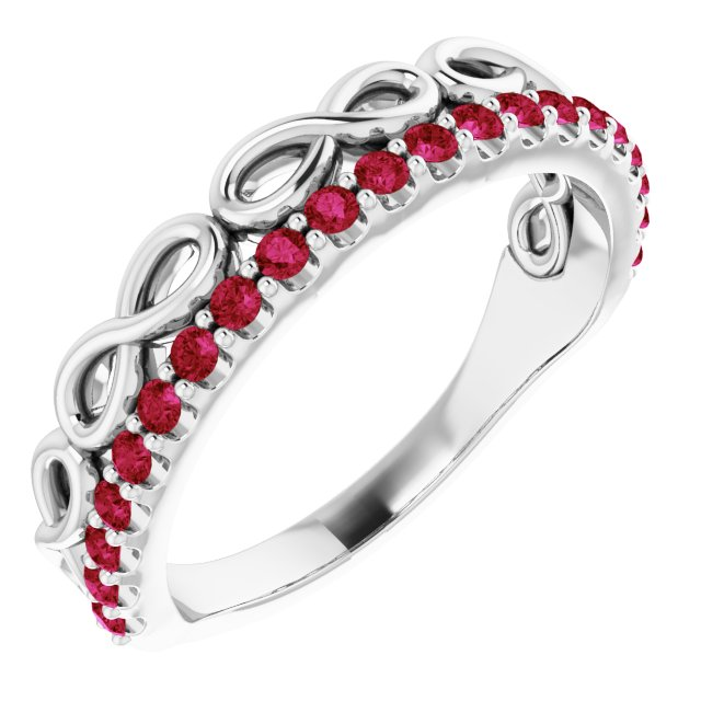 Natural Ruby Ring in 14 Karat White Gold Ruby Infinity-InspiNatural Stackable Ring
