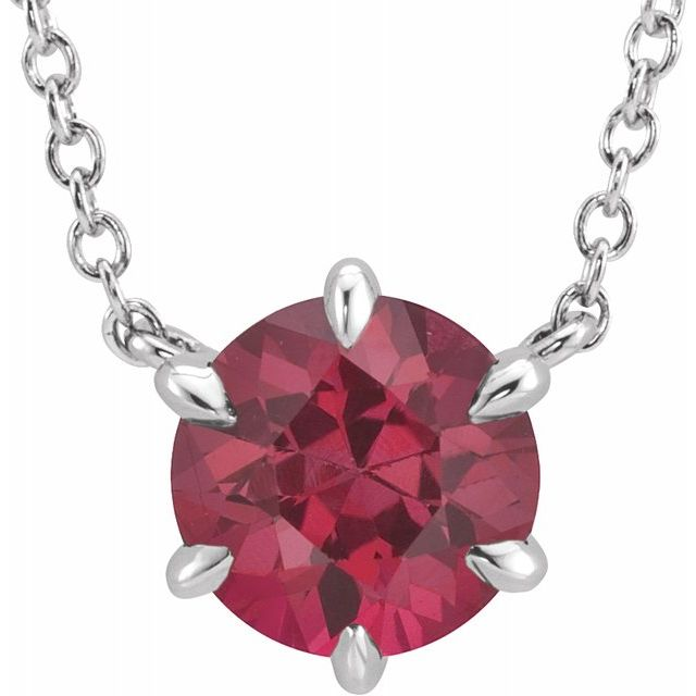 Genuine Ruby Necklace in 14 Karat White Gold Ruby Solitaire 16