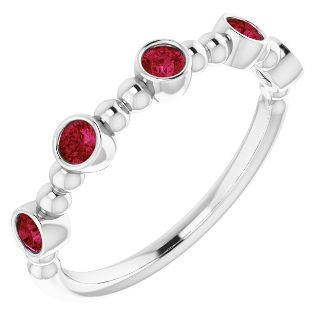 Natural Ruby Ring in 14 Karat White Gold Ruby Stackable Beaded Ring