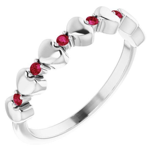 Natural Ruby Ring in 14 Karat White Gold Ruby Stackable Heart Ring