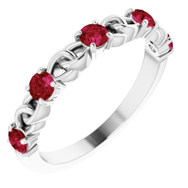 Natural Ruby Ring in 14 Karat White Gold Ruby Stackable Link Ring