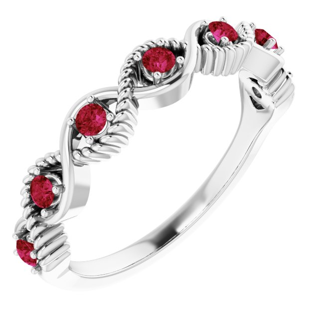 Natural Ruby Ring in 14 Karat White Gold Ruby Stackable Ring