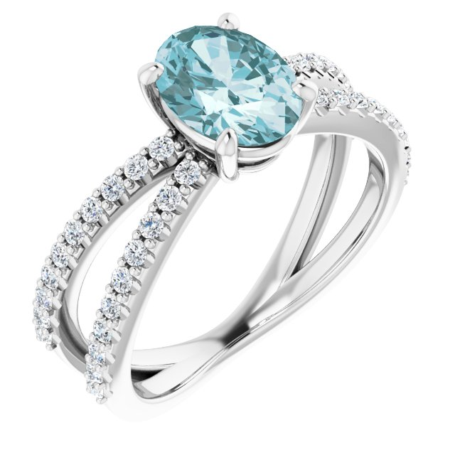 Genuine Topaz Ring in 14 Karat White Gold Sky Genuine Topaz & 1/3 Carat Diamond Ring