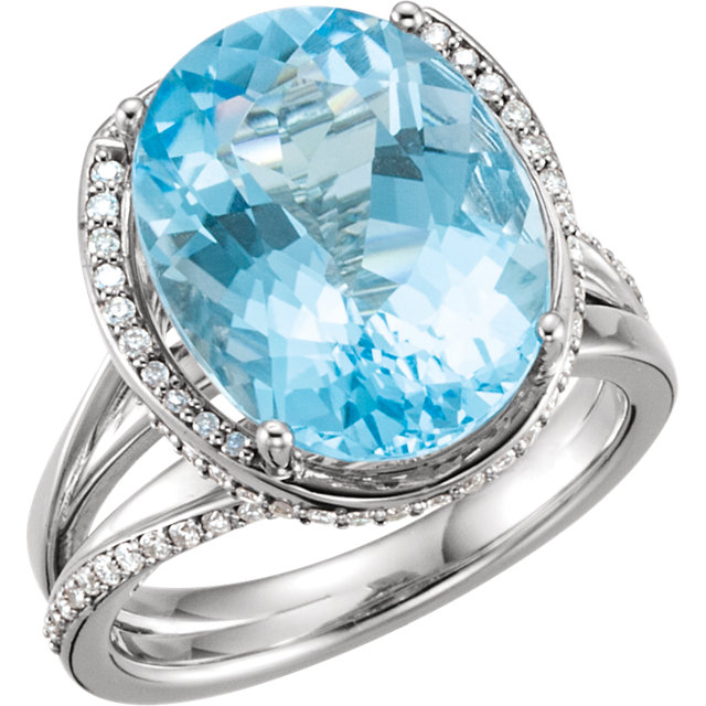 Striking 14 Karat White Gold Oval Genuine Swiss Blue Topaz & 1/2 Carat Total Weight Diamond Spiral Ring