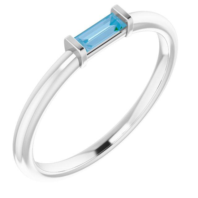 Genuine Topaz Ring in 14 Karat White Gold Swiss Genuine Topaz Stackable Ring