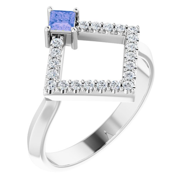 Genuine Tanzanite Ring in 14 Karat White Gold Tanzanite & 1/5 Carat Diamond Geometric Ring