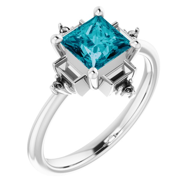 Genuine Topaz Ring in 14 Karat White Gold Topaz & 1/5 Carat Diamond Geometric Ring
