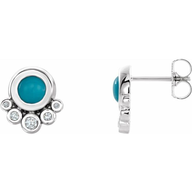 Genuine Turquoise Earrings in 14 Karat White Gold Turquoise & 1/8 Carat Diamond Earrings