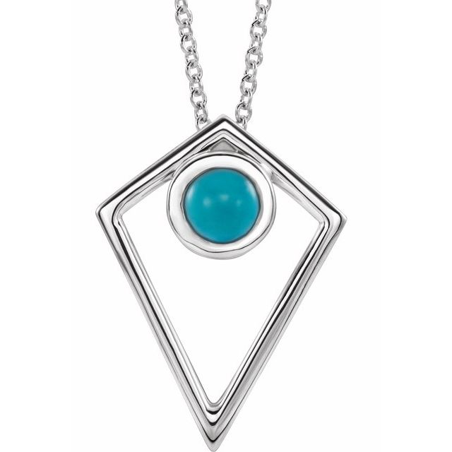 Genuine Turquoise Necklace in 14 Karat White Gold Turquoise Cabochon Pyramid 16-18