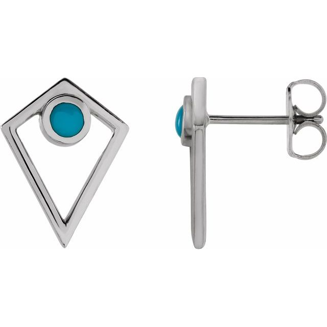Genuine Turquoise Earrings in 14 Karat White Gold Turquoise Cabochon Pyramid Earrings