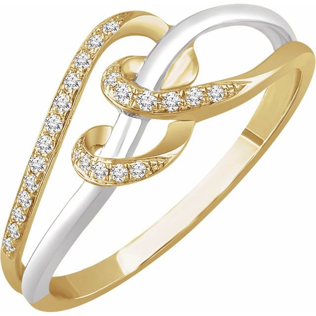 White Diamond Ring in 14 Karat White & Yellow Gold 1/10 Carat Diamond Negative Space Ring