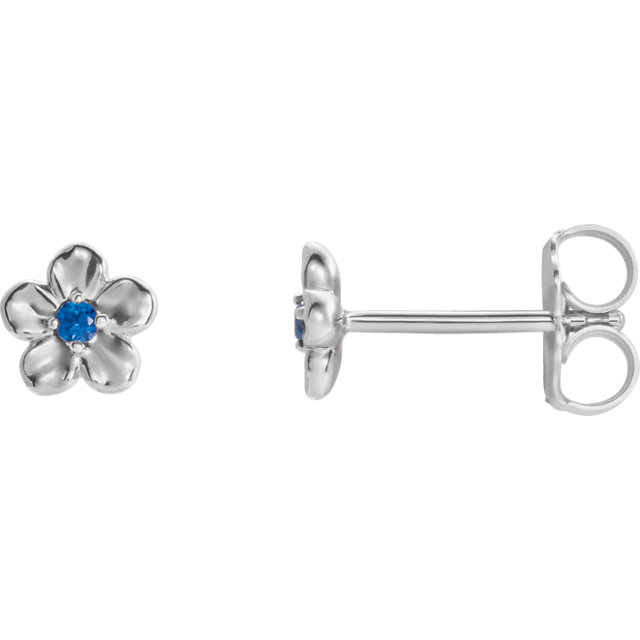 Must See 14 Karat White Gold Youth Imitation September Birthstone Flower Earrings