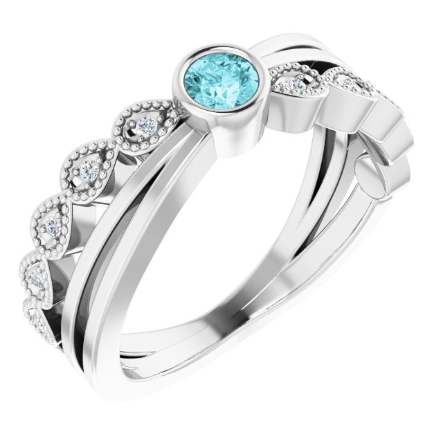 Genuine Zircon Ring in 14 Karat White Gold Zircon & .05 Carat Diamond Ring