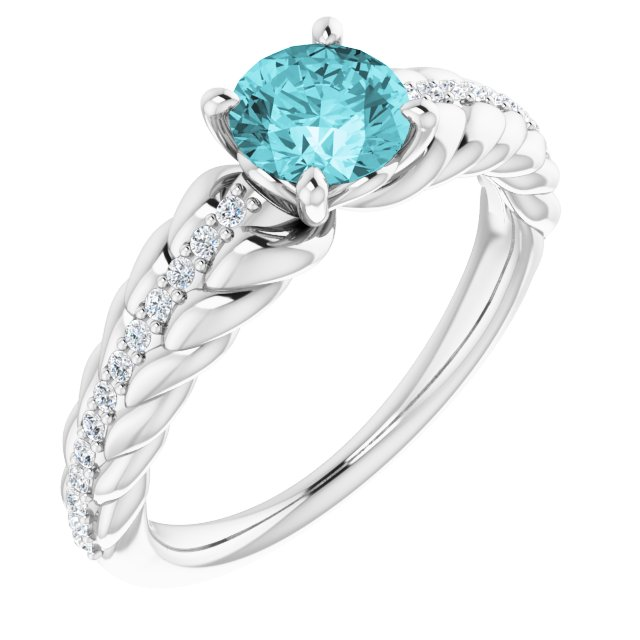 Genuine Zircon Ring in 14 Karat White Gold Zircon & 1/8 Carat Diamond Ring
