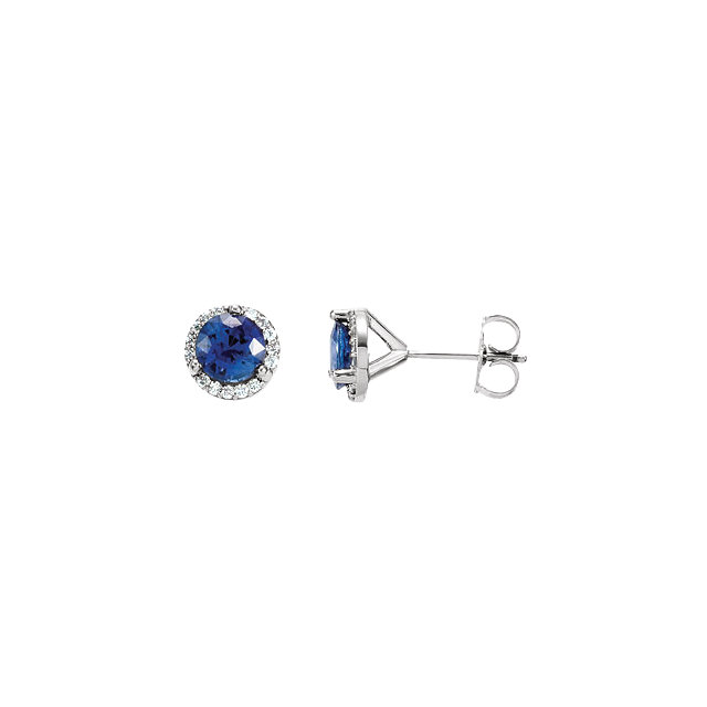 Very Nice 14K X1 White Blue Sapphire & 0.17 Carat Total Weight Diamond Earrings