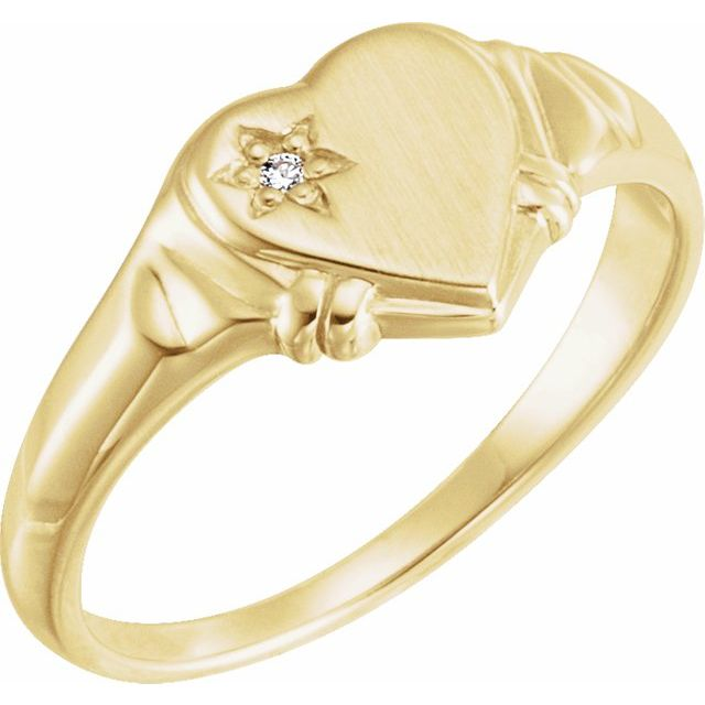 White Diamond Ring in 14 Karat Yellow Gold .005 Carat Diamond Heart Ring