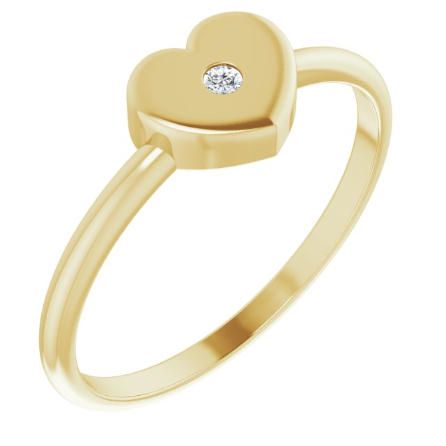 White Diamond Ring in 14 Karat Yellow Gold .01 Carat Diamond Solitaire Heart Youth Ring