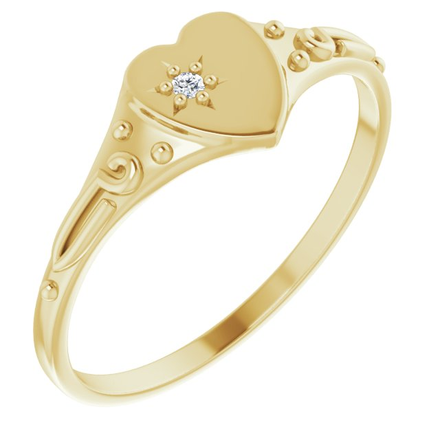 White Diamond Ring in 14 Karat Yellow Gold .01 Diamond Heart Ring Size 5