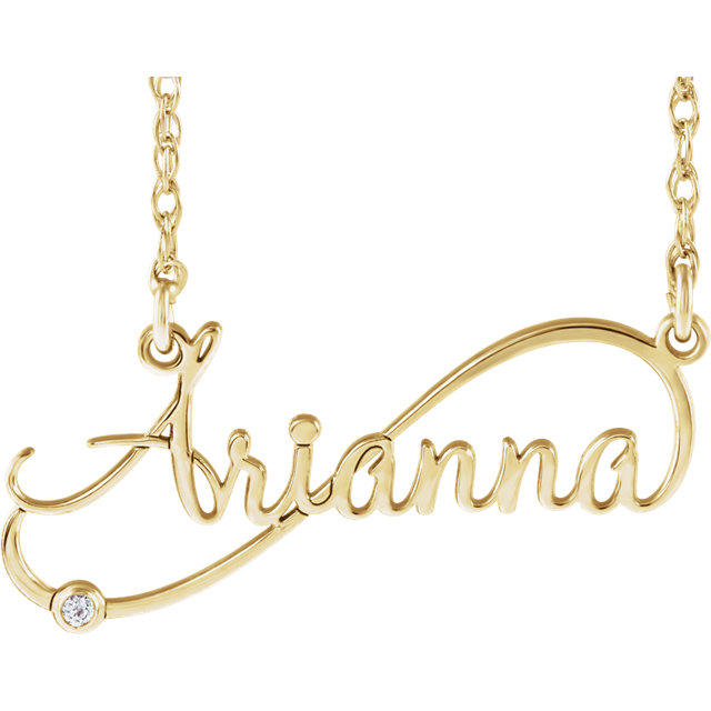 Fine Quality 14 Karat Yellow Gold .015 Carat Total Weight Diamond Infinity-Inspired Script Nameplate Necklace