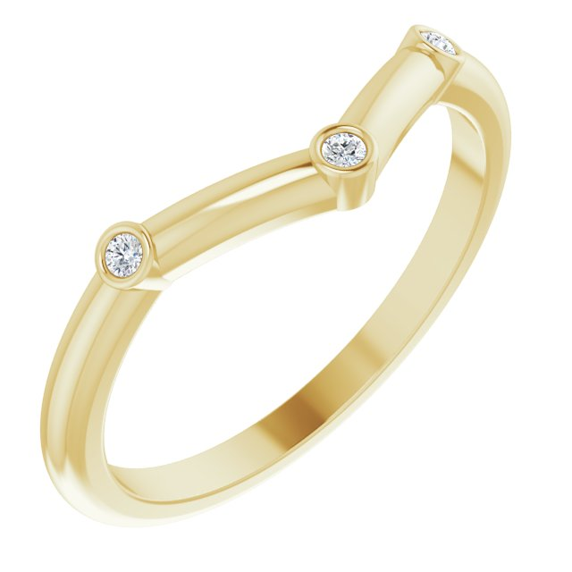 White Diamond Ring in 14 Karat Yellow Gold .03 Carat Diamond Stackable Chevron Ring