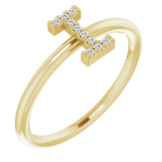 White Diamond Ring in 14 Karat Yellow Gold .04 Carat Diamond Initial I Ring