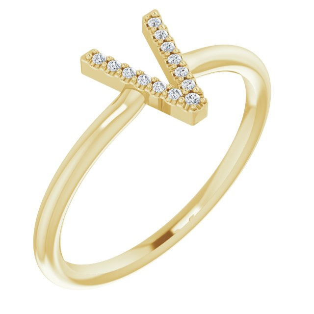 White Diamond Ring in 14 Karat Yellow Gold .04 Carat Diamond Initial V Ring