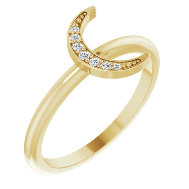 White Diamond Ring in 14 Karat Yellow Gold .04 Carat Diamond Stackable Crescent Ring