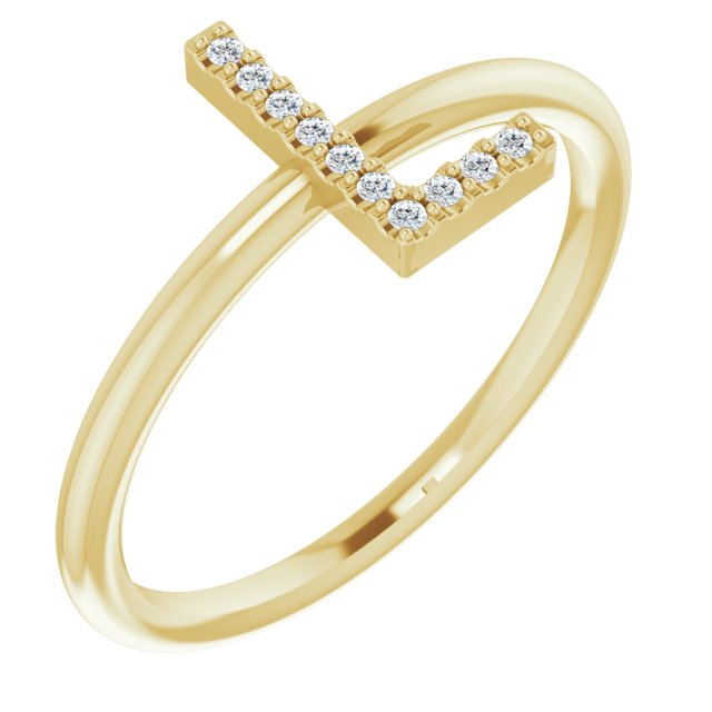 White Diamond Ring in 14 Karat Yellow Gold .05 Carat Diamond Initial L Ring