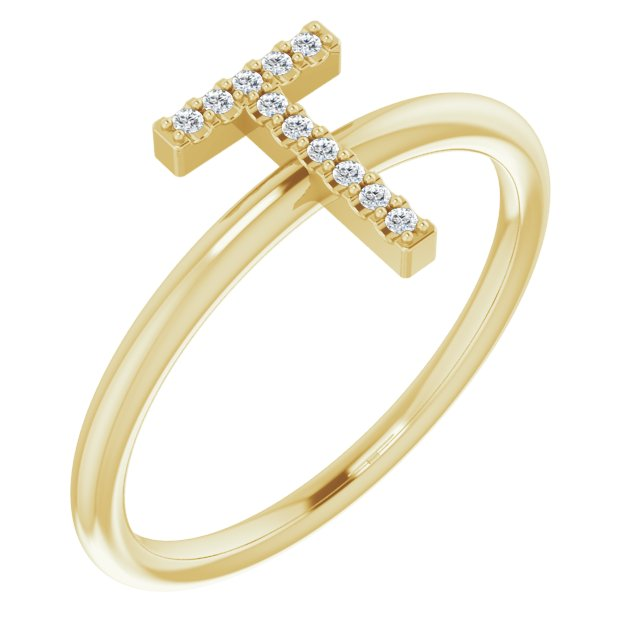 White Diamond Ring in 14 Karat Yellow Gold .06 Carat Diamond Initial T Ring