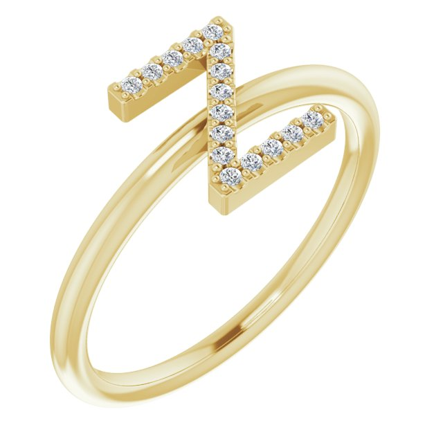 White Diamond Ring in 14 Karat Yellow Gold .06 Carat Diamond Initial Z Ring