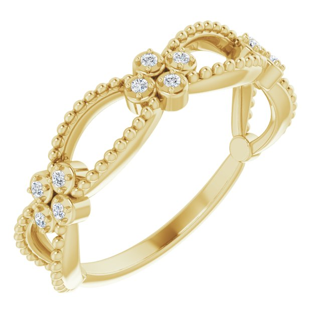 White Diamond Ring in 14 Karat Yellow Gold .06 Carat Diamond Stackable Beaded Ring