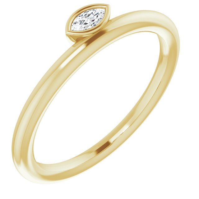White Diamond Ring in 14 Karat Yellow Gold .07 Carat Diamond Asymmetrical Stackable Ring