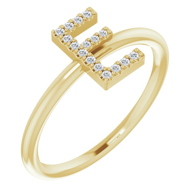 White Diamond Ring in 14 Karat Yellow Gold .07 Carat Diamond Initial E Ring