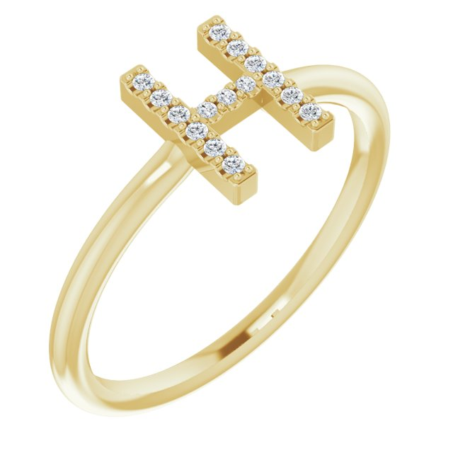 White Diamond Ring in 14 Karat Yellow Gold .07 Carat Diamond Initial H Ring
