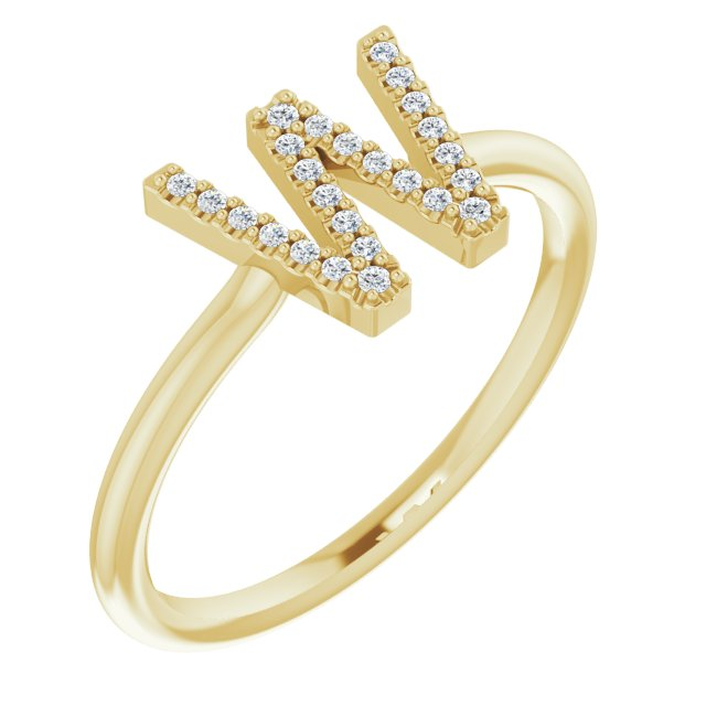 White Diamond Ring in 14 Karat Yellow Gold .07 Carat Diamond Initial W Ring