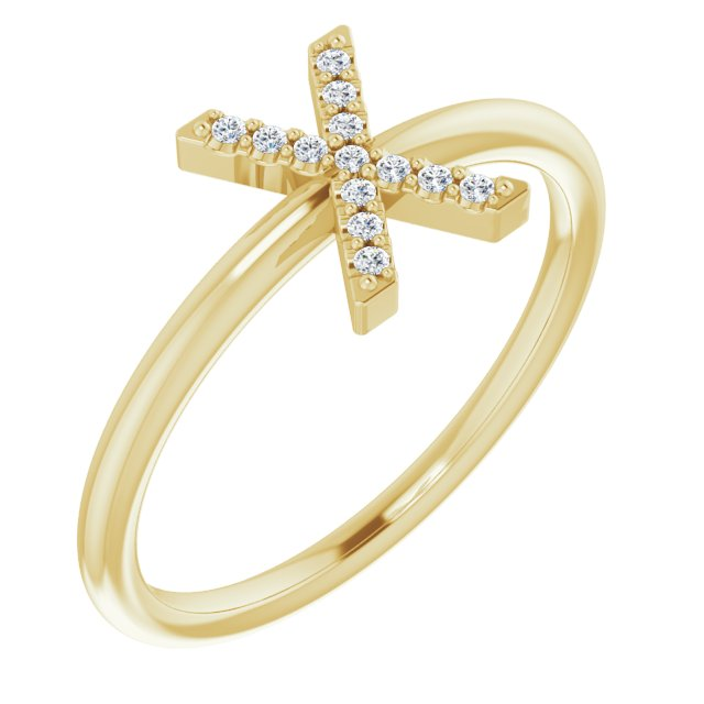 White Diamond Ring in 14 Karat Yellow Gold .07 Carat Diamond Initial X Ring