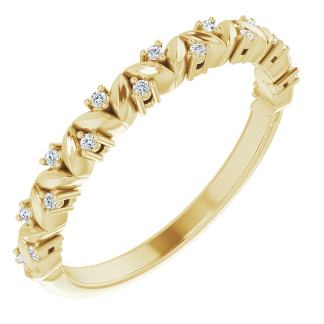 White Diamond Ring in 14 Karat Yellow Gold .07 Carat Diamond Leaf Stackable Ring