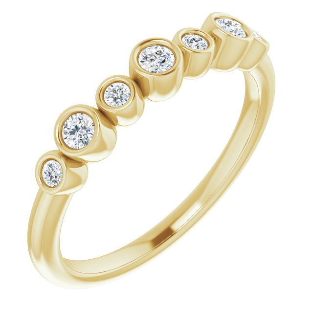 White Diamond Ring in 14 Karat Yellow Gold .08 Carat Diamond Bezel-Set Ring