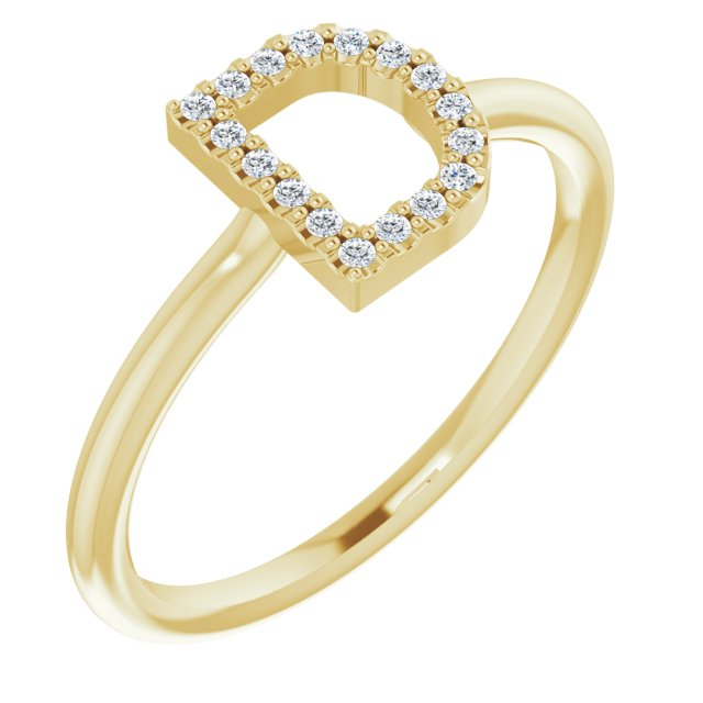 White Diamond Ring in 14 Karat Yellow Gold .08 Carat Diamond Initial D Ring
