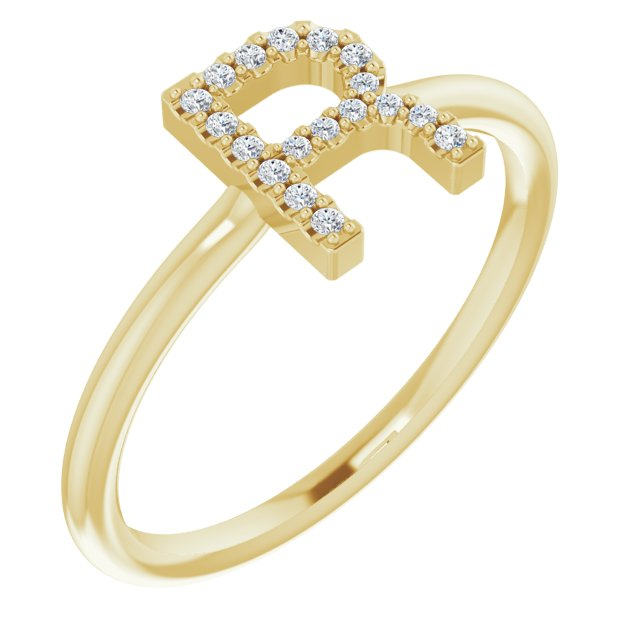 White Diamond Ring in 14 Karat Yellow Gold .08 Carat Diamond Initial R Ring