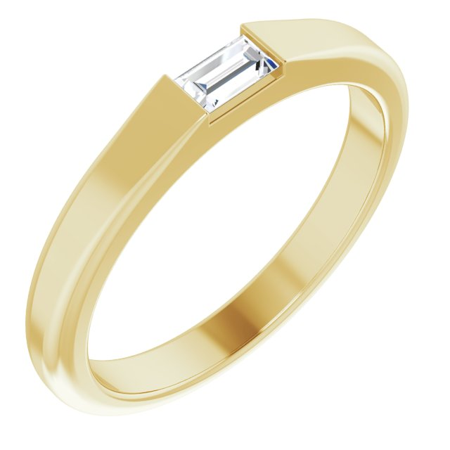 White Diamond Ring in 14 Karat Yellow Gold 1/10 Carat Diamond Stackable Ring Size 4.5