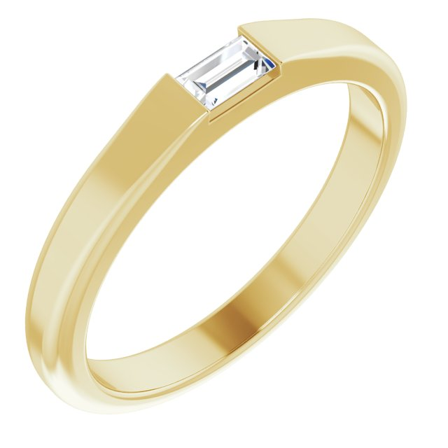 White Diamond Ring in 14 Karat Yellow Gold 1/10 Carat Diamond Stackable Ring Size 5