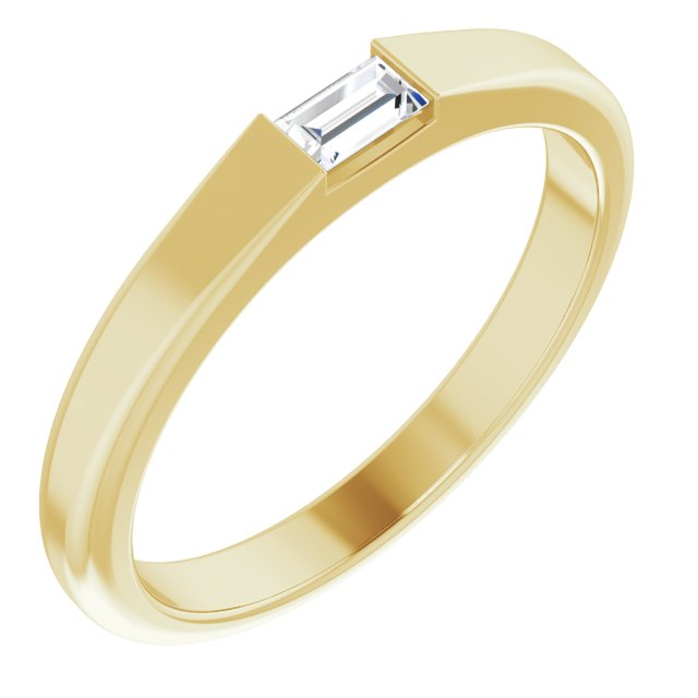 White Diamond Ring in 14 Karat Yellow Gold 1/10 Carat Diamond Stackable Ring Size 5.5
