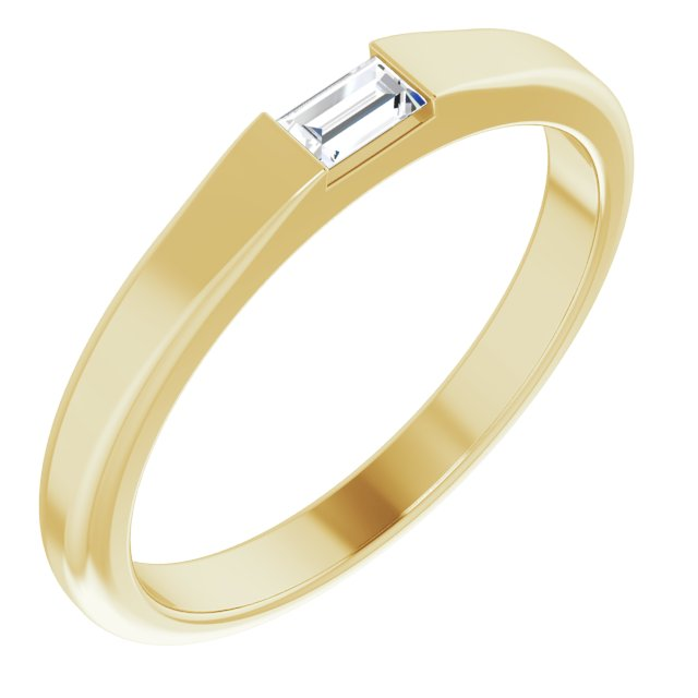 White Diamond Ring in 14 Karat Yellow Gold 1/10 Carat Diamond Stackable Ring Size 6